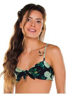 Soutien Tradicional Floral Com Amarraã§Ã£O- Preto & Verde
