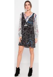 Vestido Abstrato- Off White & Azul- My Favorite Thinmy Favorite Things