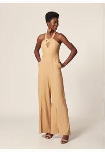 Macacão Mob Pantalona Decote Cruzado Feminino - Feminino-Dourado