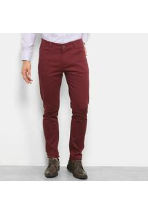 Calça Watkins & Krown Sarja Color Masculina - Masculino-Vinho