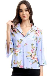 Camisa 101 Resort Wear Viscose Polo Mangas Flare 34 Floral Azul