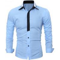 62a476d02f Camisa Social Masculina Slim Fit Manga Longa - Azul Claro
