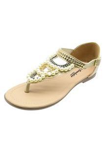 Sandália Romântica Calçados Rasteira Com Perola Ouro Light