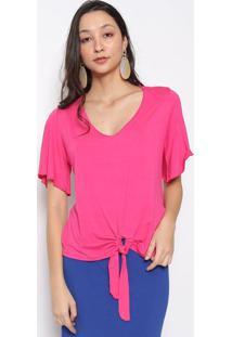 Blusa Lisa Com Amarração- Pink- Vittrivittri