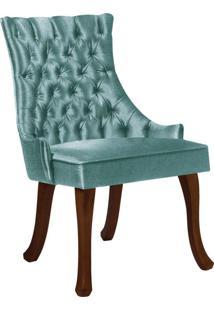 Cadeira De Jantar Leonardo Da Vinci Ii Capitonê Linho Verde