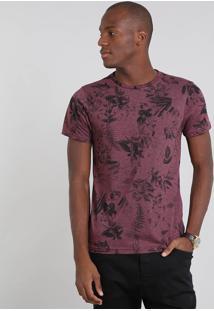 Camiseta Masculina Estampada Folhagem Manga Curta Gola Careca Vinho