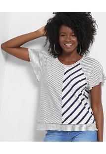 Blusa Triton Listrada Feminina - Feminino-Branco+Marinho