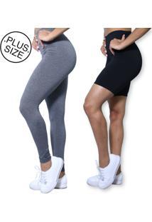 Kit Legging Cinza E Bermuda Preta Plus Size Heide Ribeiro Basic Suplex Academia