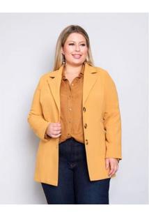 Casaco Palank Plus Size Toda Estilosa Feminina - Feminino-Mostarda