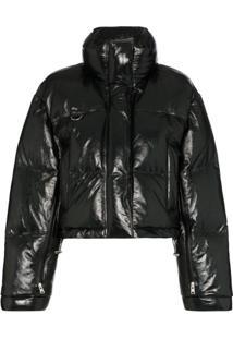 Shoredtich Ski Club Scala Shiny Leather Puffer Jacket - Preto