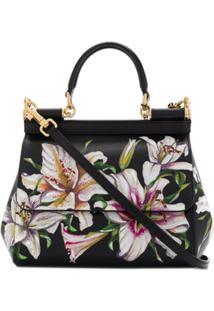 Dolce & Gabbana Bolsa Tote Sicily Pequena Com Estampa Floral - Preto