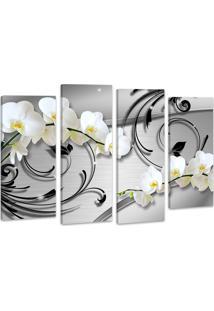 Quadro 70X100Cm Oppen House Orquídea Silver Luxury Flores Brancas