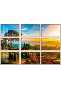 Quadro 150X225Cm Painel Jardim De Flores Pôr Do Sol Moldura Natural Com Vidro