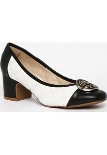 Sapato Tradicional Em Couro Com Pespontos - Branco & Precapodarte