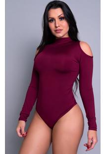 Body Mvb Modas Manga Longa Gola Alta Ombro Vinho