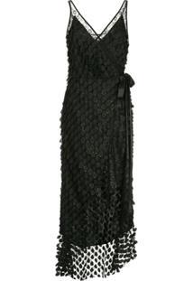 Manning Cartell Vestido Midi Com Bordado - Preto