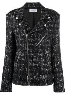 Faith Connexion Tweed Biker Style Jacket - Preto