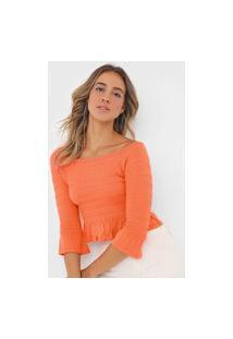 Blusa Cropped Open Style Franzida Laranja