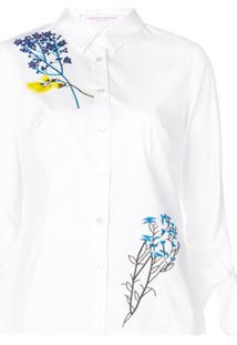 Carolina Herrera Floral Embroidered Blouse - Branco