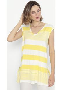 Blusa Listrada Com Fendas- Amarela & Branca- Cotton Cotton Colors Extra
