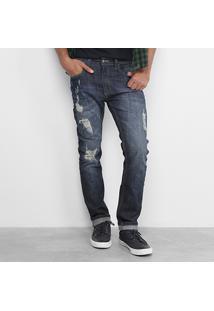 Calça Jeans Reserva Slim Rasgos Masculina - Masculino-Jeans