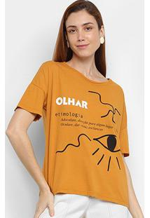 Camiseta Cantão Olhar Feminina - Feminino-Amarelo