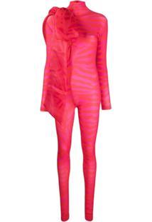 Atu Body Couture Macacão Com Laço Oversized E Estampa De Zebra - Vermelho