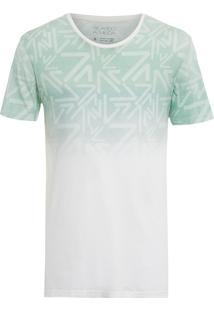 Camiseta Masculina Logo Degradê - Branco E Verde