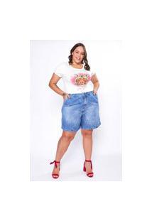 Bermuda Almaria Plus Size Izzat Jeans Azul