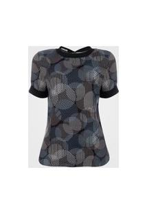 Blusa De Viscose Feminina Estampada Círculos - Azul Gg