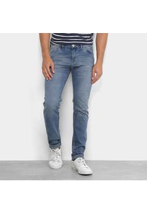 Calça Jeans Skinny Preston Estonada Elastano Masculina - Masculino-Jeans