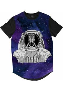 Camiseta Longline Insane 10 Animal Astronauta Zebra No Espaço Sublimada Cinza