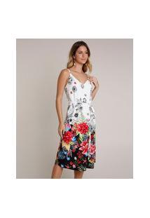 Vestido Feminino Midi Estampado Floral Tropical Com Fenda Alças Finas