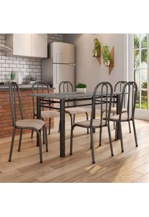 Conjunto De Mesa Granada Com 6 Cadeiras Madri Preto E Nature Bege Gr