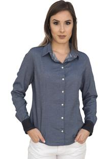 Camisa Manga Longa Capim Canela Jeans Poá Azul