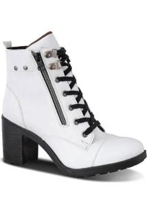 815c26f38 ... Bota Coturno Tratorada Prime Shoes Em Verniz Feminina - Feminino-Branco