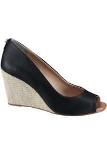 Sapato Anabela Cravo E Canela - Feminino-Preto