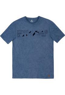 Camiseta Masculina Slim Em Malha De Algodão Com Lavanderia E Estampa