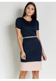 Vestido Com Botões Azul/Rosa Moda Evangélica