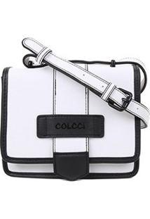 Bolsa Colcci Mini Bag Quadrada Bicolor Feminina - Feminino-Branco+Preto