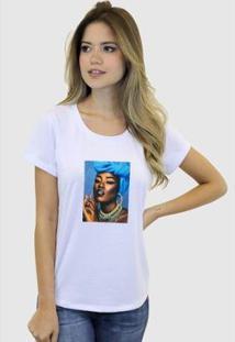 Camiseta Suffix Blusa Estampa Aplicada Em Tecido Negra Strass Basica Gola Redonda Feminina - Feminino-Branco