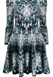 Alexander Mcqueen Off-Shoulder Printed Dress - Azul
