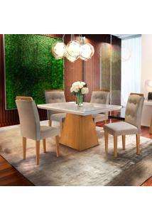 Mesa De Jantar Luna 90Cm Com Vidro Offwhite + 4 Cadeiras Imperatriz Turim 07 - Imbuia