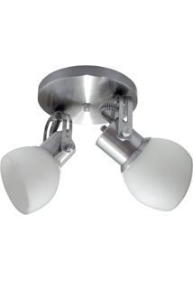 Spot Em Alumínio Lixado Branco Com Vidro Fosco Para 2 Lâmpadas
