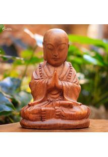 Escultura Monge Em Madeira 20Cm   Bali