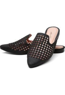 Sapatilha Mulle Bico Fino Sb Shoes Ref.10106L Preto - Preto - Feminino - Glitter - Dafiti