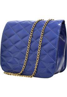 Bolsa Hendy Bag Menor Verniz Couro Alça De Correntes - Feminino-Azul