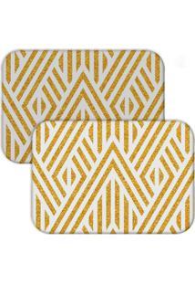 Jogo Americano Love Decor Wevans Abstract Yellow Branco/Amarelo