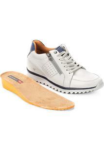 Sapato Casual Couro Rafarillo Jogger Alth Zíper - Masculino-Off White