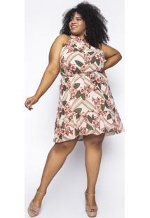 Vestido Almaria Plus Size Kayla Tavira Estampado Areia - Bege/Estampado/Floral/ - Feminino - Poliã©Ster - Dafiti